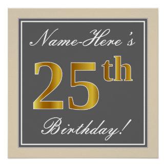 Elegant, Gray, Faux Gold 25th Birthday + Name Poster