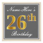 [ Thumbnail: Elegant, Gray, Faux Gold 26th Birthday + Name Invitation ]