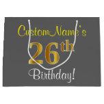 [ Thumbnail: Elegant, Gray, Faux Gold 26th Birthday + Name Gift Bag ]