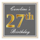 [ Thumbnail: Elegant, Gray, Faux Gold 27th Birthday + Name Invitation ]