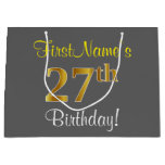 [ Thumbnail: Elegant, Gray, Faux Gold 27th Birthday + Name Gift Bag ]