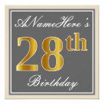 [ Thumbnail: Elegant, Gray, Faux Gold 28th Birthday + Name Invitation ]