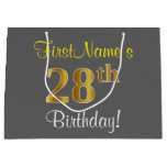 [ Thumbnail: Elegant, Gray, Faux Gold 28th Birthday + Name Gift Bag ]
