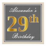 [ Thumbnail: Elegant, Gray, Faux Gold 29th Birthday + Name Invitation ]