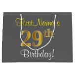 [ Thumbnail: Elegant, Gray, Faux Gold 29th Birthday + Name Gift Bag ]