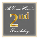 [ Thumbnail: Elegant, Gray, Faux Gold 2nd Birthday; Custom Name Invitation ]