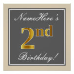 [ Thumbnail: Elegant, Gray, Faux Gold 2nd Birthday; Custom Name Poster ]