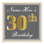 [ Thumbnail: Elegant, Gray, Faux Gold 30th Birthday + Name Invitation ]