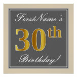 [ Thumbnail: Elegant, Gray, Faux Gold 30th Birthday + Name Poster ]