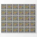 [ Thumbnail: Elegant, Gray, Faux Gold 30th Birthday + Name Wrapping Paper ]