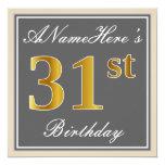 [ Thumbnail: Elegant, Gray, Faux Gold 31st Birthday + Name Invitation ]