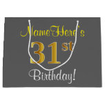 [ Thumbnail: Elegant, Gray, Faux Gold 31st Birthday + Name Gift Bag ]