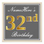 [ Thumbnail: Elegant, Gray, Faux Gold 32nd Birthday + Name Invitation ]