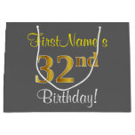 [ Thumbnail: Elegant, Gray, Faux Gold 32nd Birthday + Name Gift Bag ]