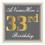 [ Thumbnail: Elegant, Gray, Faux Gold 33rd Birthday + Name Invitation ]