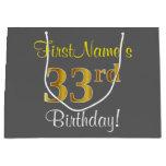 [ Thumbnail: Elegant, Gray, Faux Gold 33rd Birthday + Name Gift Bag ]