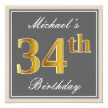 [ Thumbnail: Elegant, Gray, Faux Gold 34th Birthday + Name Invitation ]