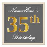 [ Thumbnail: Elegant, Gray, Faux Gold 35th Birthday + Name Invitation ]