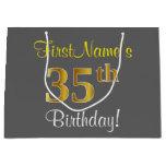 [ Thumbnail: Elegant, Gray, Faux Gold 35th Birthday + Name Gift Bag ]