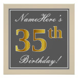 [ Thumbnail: Elegant, Gray, Faux Gold 35th Birthday + Name Poster ]
