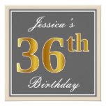 [ Thumbnail: Elegant, Gray, Faux Gold 36th Birthday + Name Invitation ]