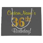 [ Thumbnail: Elegant, Gray, Faux Gold 36th Birthday + Name Gift Bag ]