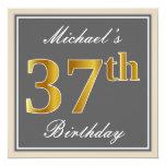 [ Thumbnail: Elegant, Gray, Faux Gold 37th Birthday + Name Invitation ]