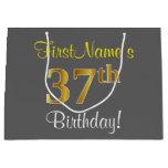 [ Thumbnail: Elegant, Gray, Faux Gold 37th Birthday + Name Gift Bag ]