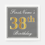 [ Thumbnail: Elegant Gray, Faux Gold 38th Birthday; Custom Name Napkin ]