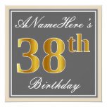 [ Thumbnail: Elegant, Gray, Faux Gold 38th Birthday + Name Invitation ]