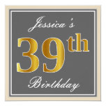 [ Thumbnail: Elegant, Gray, Faux Gold 39th Birthday + Name Invitation ]