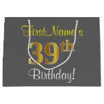 [ Thumbnail: Elegant, Gray, Faux Gold 39th Birthday + Name Gift Bag ]