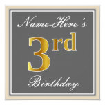 [ Thumbnail: Elegant, Gray, Faux Gold 3rd Birthday; Custom Name Invitation ]