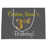 [ Thumbnail: Elegant, Gray, Faux Gold 3rd Birthday; Custom Name Gift Bag ]