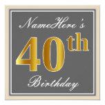 [ Thumbnail: Elegant, Gray, Faux Gold 40th Birthday + Name Invitation ]