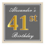 [ Thumbnail: Elegant, Gray, Faux Gold 41st Birthday + Name Invitation ]