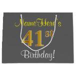[ Thumbnail: Elegant, Gray, Faux Gold 41st Birthday + Name Gift Bag ]