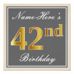 [ Thumbnail: Elegant, Gray, Faux Gold 42nd Birthday + Name Invitation ]