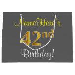 [ Thumbnail: Elegant, Gray, Faux Gold 42nd Birthday + Name Gift Bag ]