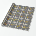 [ Thumbnail: Elegant, Gray, Faux Gold 42nd Birthday + Name Wrapping Paper ]