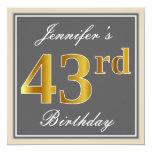 [ Thumbnail: Elegant, Gray, Faux Gold 43rd Birthday + Name Invitation ]
