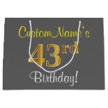 [ Thumbnail: Elegant, Gray, Faux Gold 43rd Birthday + Name Gift Bag ]