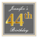 [ Thumbnail: Elegant, Gray, Faux Gold 44th Birthday + Name Invitation ]