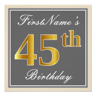 Elegant, Gray, Faux Gold 45th Birthday + Name Card