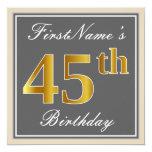[ Thumbnail: Elegant, Gray, Faux Gold 45th Birthday + Name Invitation ]