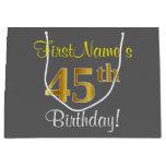 [ Thumbnail: Elegant, Gray, Faux Gold 45th Birthday + Name Gift Bag ]