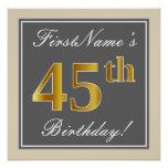 [ Thumbnail: Elegant, Gray, Faux Gold 45th Birthday + Name Poster ]