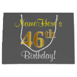 [ Thumbnail: Elegant, Gray, Faux Gold 46th Birthday + Name Gift Bag ]