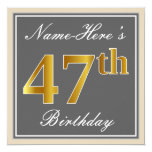 [ Thumbnail: Elegant, Gray, Faux Gold 47th Birthday + Name Invitation ]