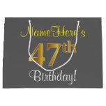 [ Thumbnail: Elegant, Gray, Faux Gold 47th Birthday + Name Gift Bag ]